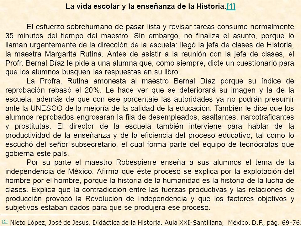 La vida escolar y la enseñanza de la Historia.[1]